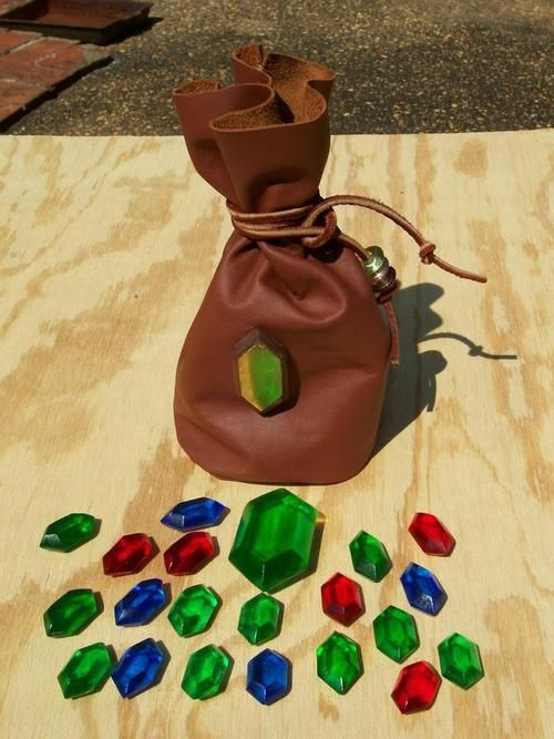 Zelda rupees and rupees bag homemade cosplay prop #DIY