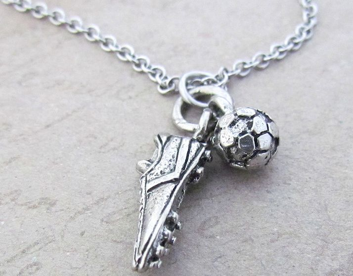 This adorable cleat & soccer ball charm is the perfect size to wear your love for soccer around your neck! The small charms feature a ton of detail! - Handmade cleat and ball charms - Antique silver f