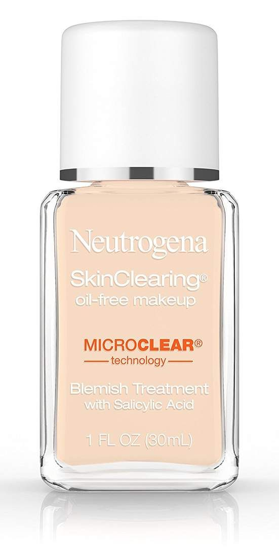 "Neutrogena Skinclearing Makeup: This drugstore foundation is a top pick of Kaleroy Papantoniou, MD, a dermatologist based in Brooklyn, New York. ""It's lightweight and oil-free and contains salicylic acid, which is great for unclogging pores and gently exfoliating,"" Dr. Papantoniou says. ""It also provides mild to moderate coverage and has many shades available."" Plus, it has a matte finish to control the appearance of shine, making it a great choice for anyone with oily skin."