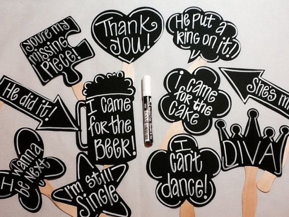 Chalk Marker PLUS 10 BLANK Chalkboard Photo booth Props Speech Bubble Props…
