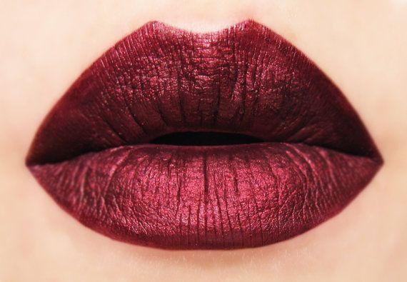 Bitten  Metallic Dark Red Matte Liquid Lipstick by BeautyUndead $17