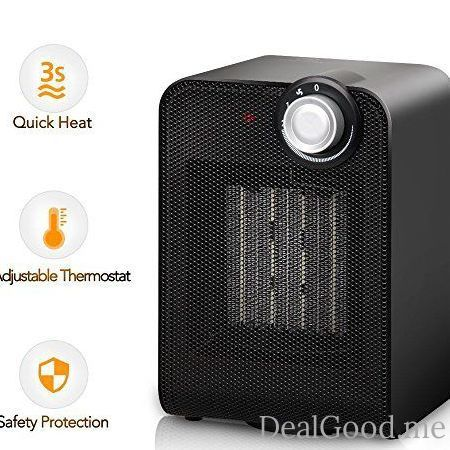 Portable Space Heater  1500W Mini Ceramic Heater with Overheating & Tip-Over Protection Hot & Cool Fan Oscillating Indoor Heater with Adjustable Thermostat for Desk Floor Office Home Small Rooms