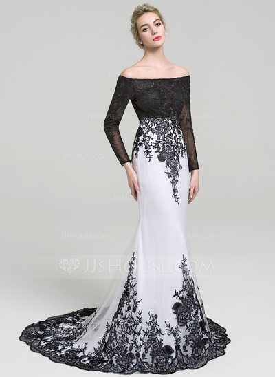 Trumpet/Mermaid Off-the-Shoulder Court Train Zipper Up Sleeves Long Sleeves No White Spring Summer Fall General Plus Tulle Lace Evening Dress