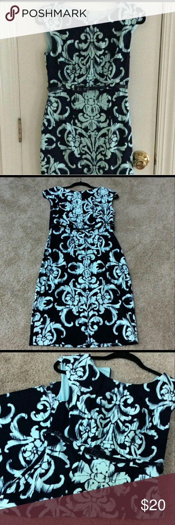 Dress Lovely aqua and navy career, church, dinner dress. Very chic!! Worn once! Dress Barn Dresses