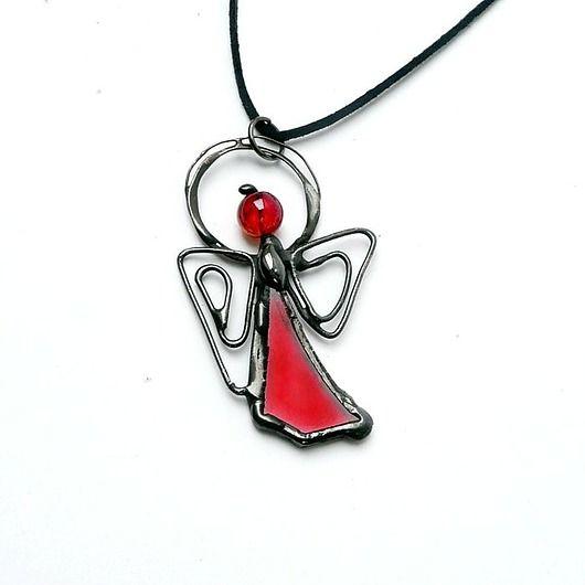 Aniołek na szczęście. Czerwone szkło / Nice and sweet Angel for good luck. Red glass. Real handmade :)