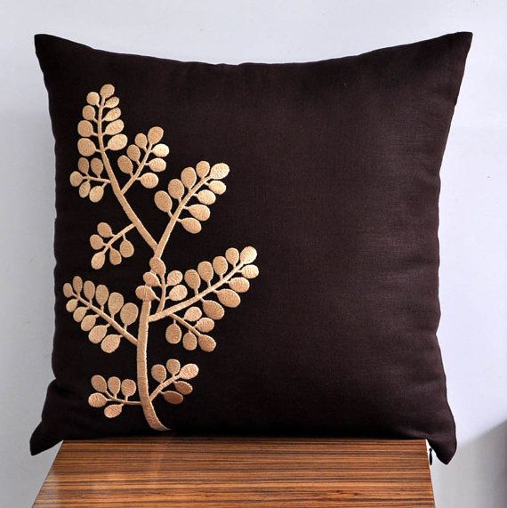 "Beige Tree Branch -18"" x 18"" Decorative Pillow Cover - Dark Brown linen with beige botanical embroidery"