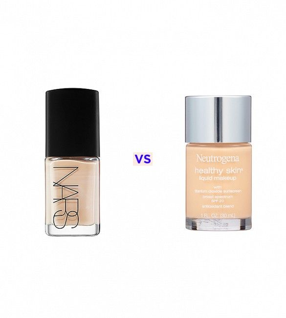 Nars Sheer Glow Foundation ($45) vs Neutrogena Healthy Skin Liquid Makeup ($14)  A light coverage foundation with skin brightening benefits, Nars' Sheer Glow Foundation is the perfect everyday foundation. But for just $14, Neutrogena's antioxidant-rich Healthy Skin Liquid Makeup will give you a nearly identical dewy finish. The only difference? Neutogena's formula offers a bit more coverage than the Sheer Glow Foundation.