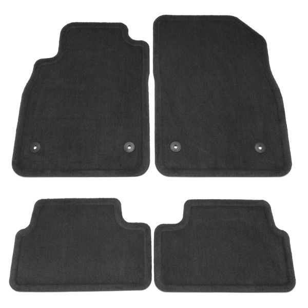 Cruze Floor Mats, Font/Rear Carpet Replacements, Black:These Front and Rear Carpet Replacement Floor Mats mimic the shape of your Cruze to provide superior fit and protection.