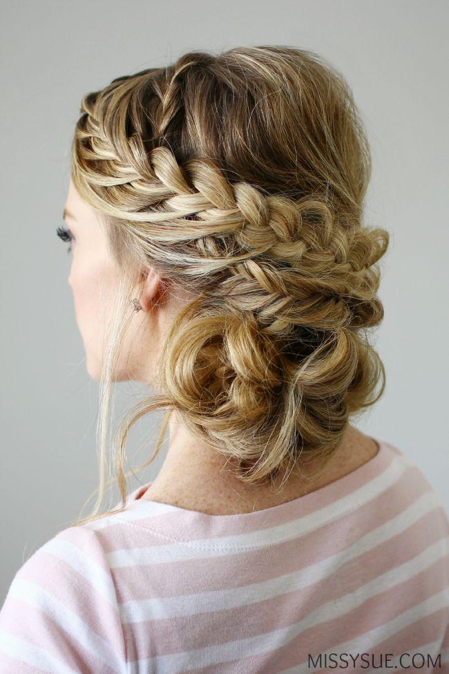 double braid textured updo women's