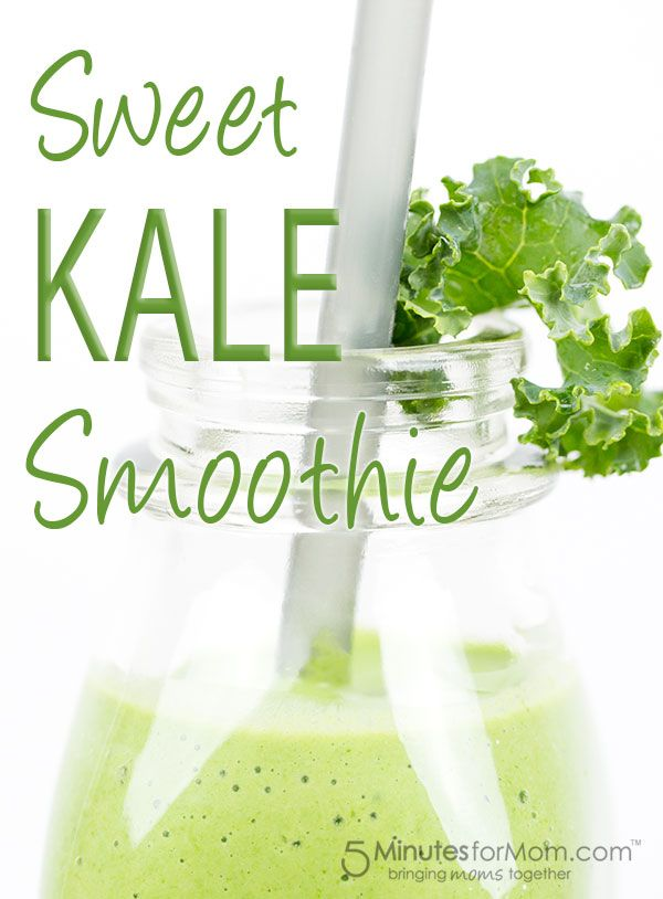 Sweet Kale Smoothie Recipe - This sweet and creamy kale smoothie recipe is a favorite with kids. There are 5 secrets to making this FAST and SWEET Kale Smoothie for Kids…