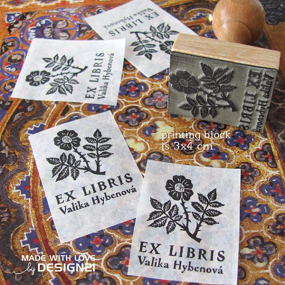 Rose: personalised rubber stamp 3x4 cm by lida21 on Etsy