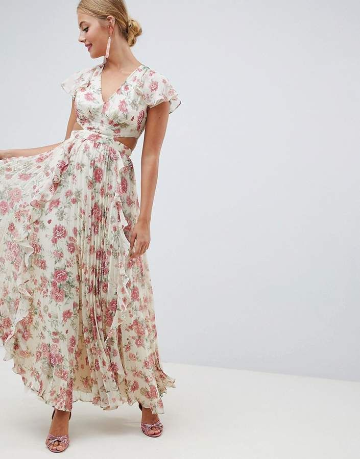 9c0049993a33 ASOS DESIGN pleated ruffle maxi dress with cut out in floral print ...