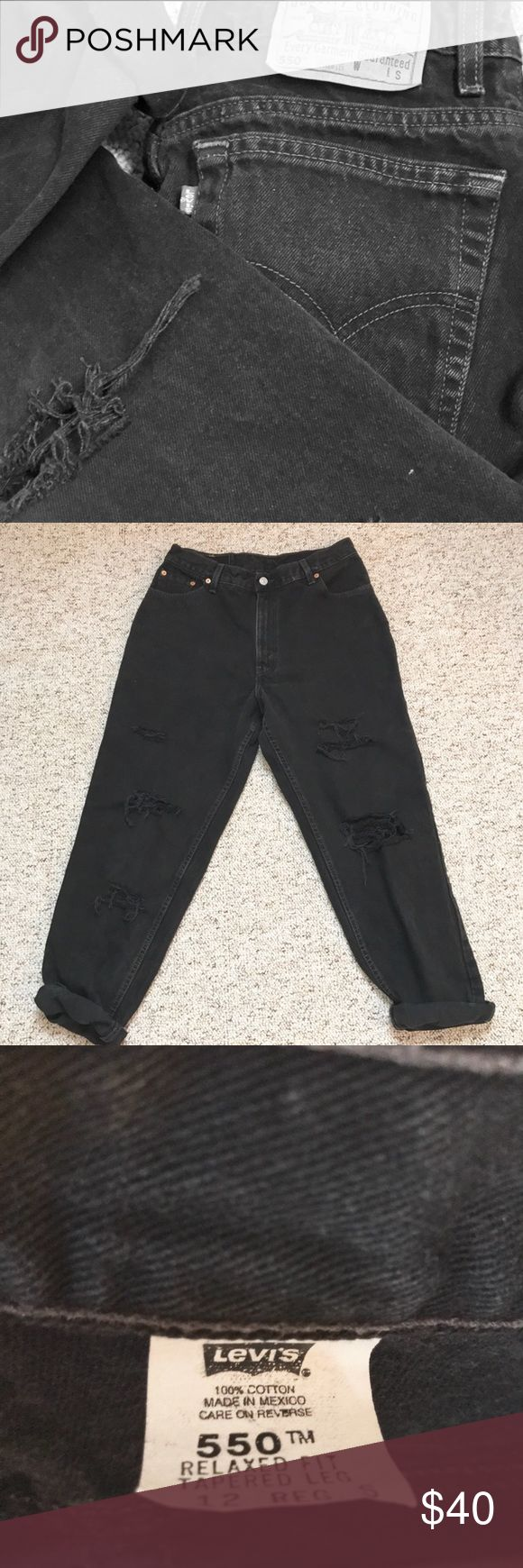 "Levi's 550 Vintage Distressed Black Jeans Levi's 550 •Vintage Distressed High Waisted Black Jeans  •High Waisted • Relaxed Fit • Tapered Leg  100% Cotton Tagged 12 S  (Fit like a 10 boyfriend fit Jean IMO) Per measurements, best for 28 inch waist IMO • measured at belly button  Waist 14"" • High Waisted, to be worn at belly button  Hips 22 Rise 11.5"" Inseam 27"" -Please see all pics and compare your personal measurements to the measurements above *With vintage wear comes fading, small stains…"