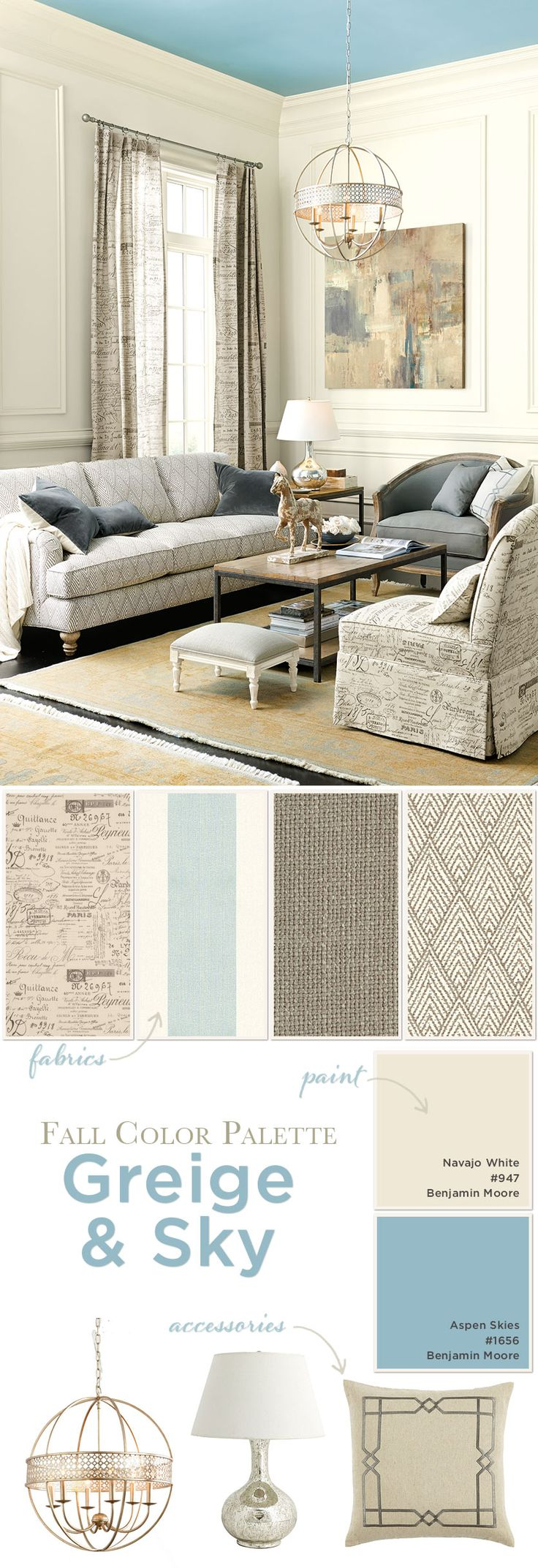 Living room color palette with gray, taupe, and blue:  I like these colors for my sewing room!