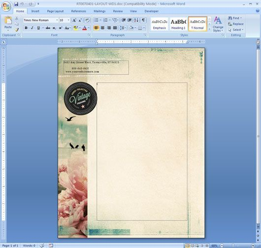 Letterhead Template in Microsoft Word: