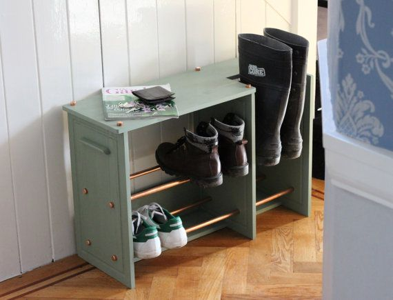 Wooden Shoe rack / Boot rack with Copper Racking by InWoodCraft