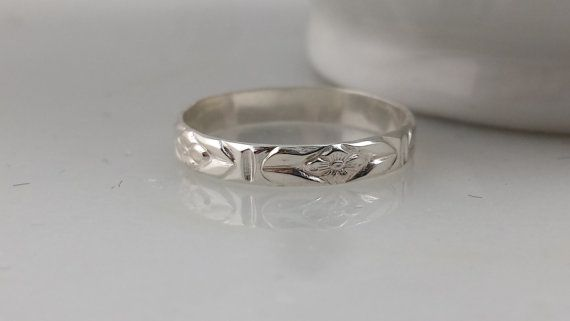 Skinny Sterling Silver Floral Pattern Ring by ArbotiqueDesigns