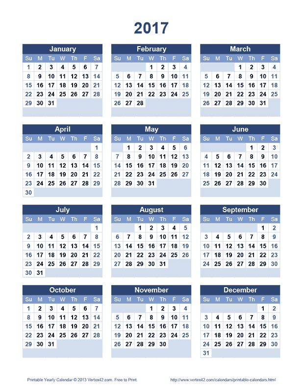 Download a free Printable 2017 Yearly Calendar from Vertex42.com