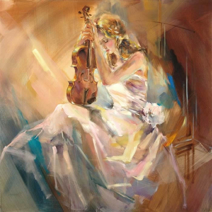 Anna Razumovskaya - Anna Razumovskaya Romance with a Violin Painting. Love the rough brush strokes.