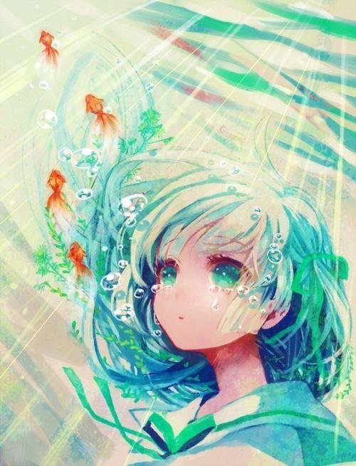 Anime llorando dejao del agua.