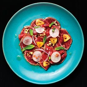 "Heritage Angus Beef Carpaccio at Raw Bar at Hotel Arts - one of the ""hot dishes"" for hot summer dining profiled by Where Calgary Magazine."