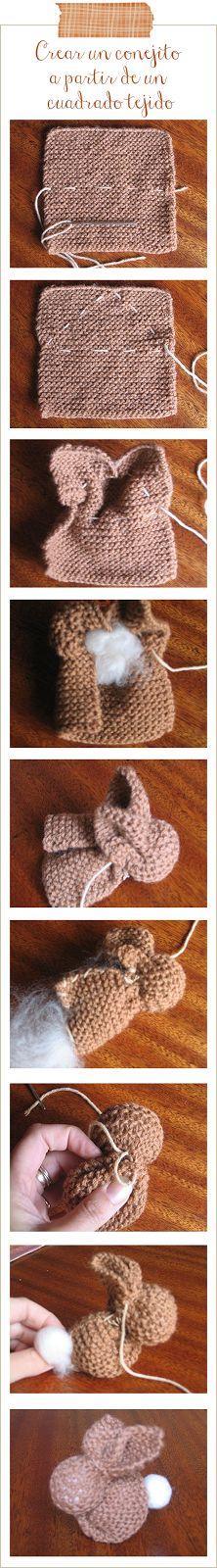Conejito fácil a partir de un cuadrado tejido - Easy bunny from a knited square