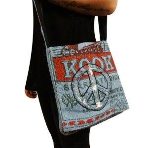 Messenger bag gemaakt van juten rijstzakken uit Nepal