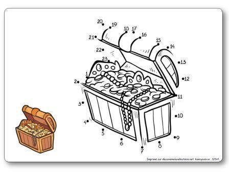 http://dessinemoiunehistoire.net/Relier les points de 1 à 23 : le coffre au trésor