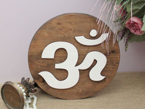 Sanskrit AUM Wall Art OM Wood Sign Diwali Decor by TimelessNotion