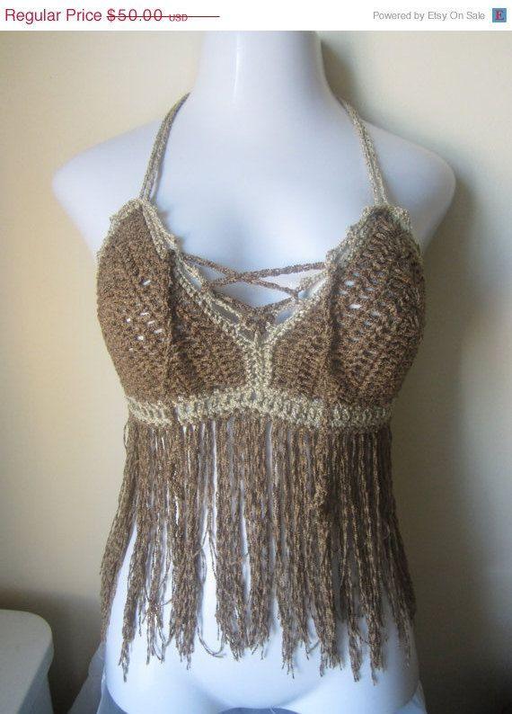 Fringe halter top brown festival bikini top by Elegantcrochets, $45.00