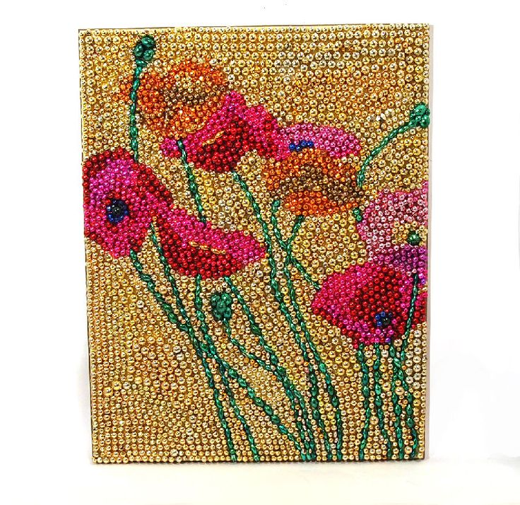 Mardi Gras Beaded Poppy Flowers Mosaic 19x15 New Orleans Wall Art - Pink, Purple, Gold and Green.via Etsy.