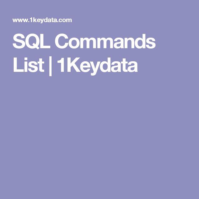 SQL Commands List | 1Keydata