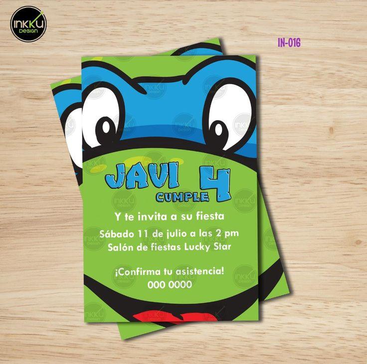 Invitaciones personalizadas para fiestas infantiles, cumpleaños o cualquier ocasión banderines personalizados etiquetas para botellas de agua y muchas cosas mas!  TMNT Tortugas Ninja