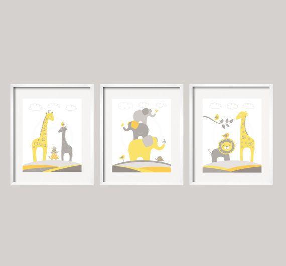 Nursery décor jaune et gris Safari Animal Art Set par YassisPlace