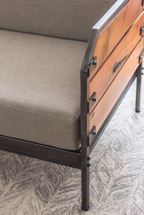 Modern Redwood Sofa or Daybed Steel Frame Custom by MezWorks