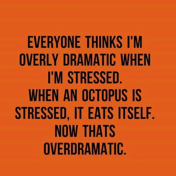 Everyone thinks I'm overly dramatic when I'm stressed. When the octopus is stressed, it eats itself. Now that's over dramatic.