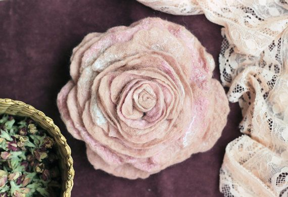 READY TO SHIP Dusty Rose Felt Rose Flower от WoolTextileHandmade
