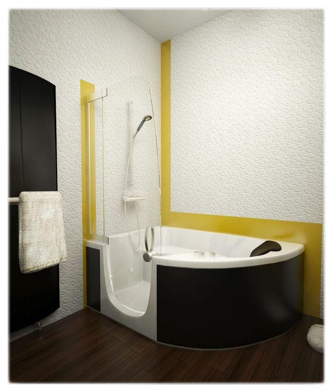 Modern minimalist bathroom with Porcelanosa tiles and Jacuzzi bath tub.