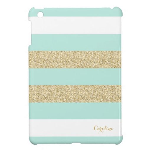 Mint and Gold Stripe Pattern with Monogram iPad Mini Cases