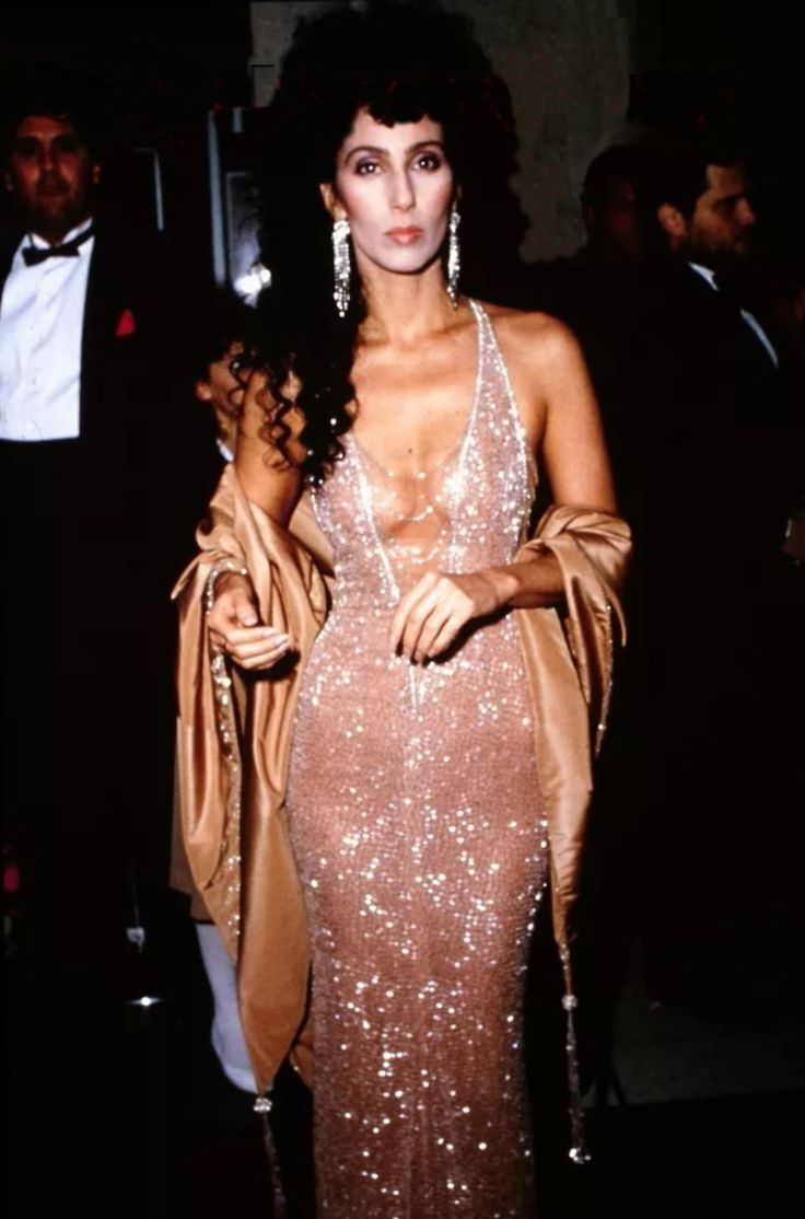 Academy Awards 1984  in beaded Bob Mackie - Cher's date for the evening was then BF Val Kilmer
