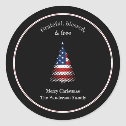 American Flag Christmas Tree Blessed Classic Round Sticker Zazzle Com Christmas Stickers Create Custom Stickers American Flag