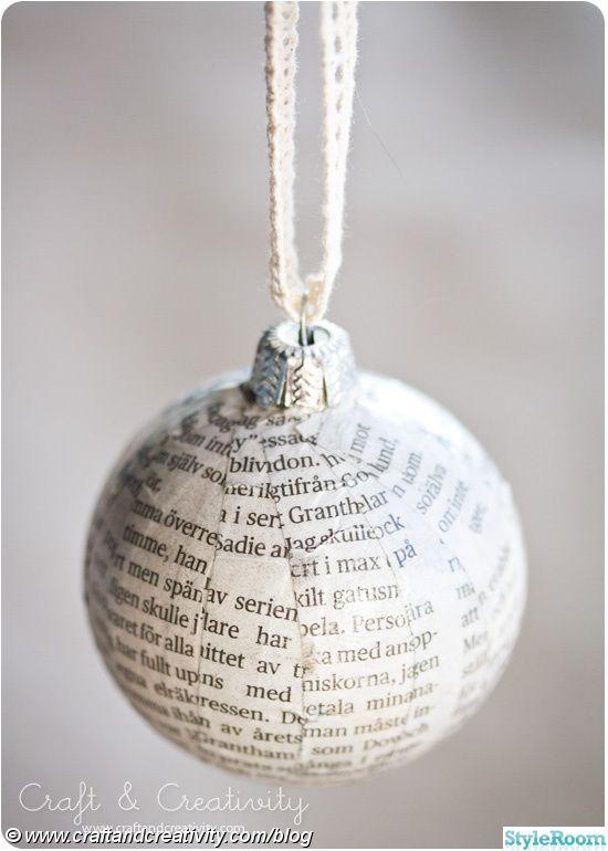 Nytt julpynt av gammal julkula och återanvänt pappar!