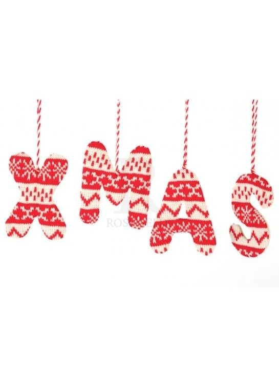 Red and White Wool Xmas Hanger @ rosefields.co.uk