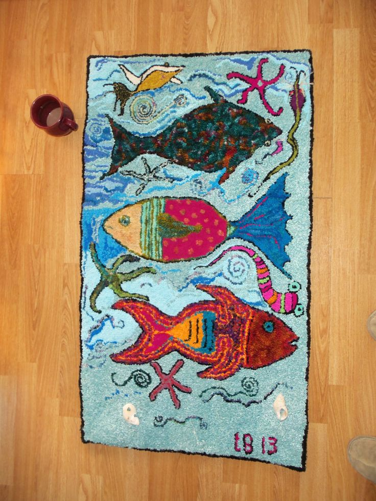 Large hand made rug hook made in Halifax  Nova Scotia Three silly fishes....each star fish represents someone who has passed away. https://www.facebook.com/pages/From-The-Nut-Shea-Butters-All-Natural-Skin-Care/220067718139912#