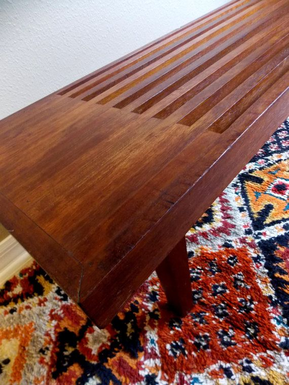 Mid Century Danish Slat Bench Table Wooden Bench 1960s EXCELLENT