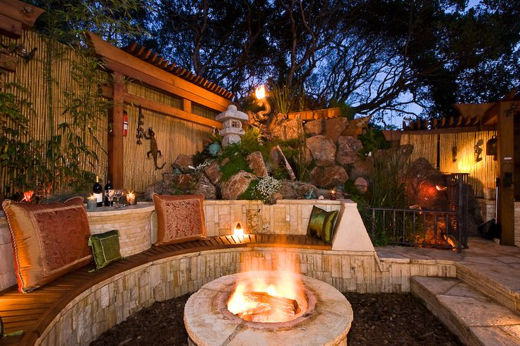firepit and seating area: Prayer Gardens, Meditation Gardens, Dreams Backyard, Seats Area, The Great Outdoor, Outdoor Fire Pit, Backyard Oasis, Outdoor Spaces, Back Yard