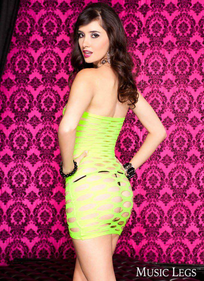 Turquoise Strapless spandex pothole dress