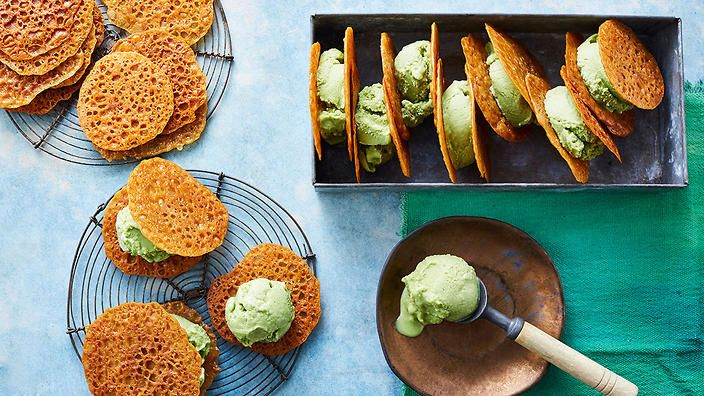 Green matcha sorbet with ginger wafers recipe : SBS Food