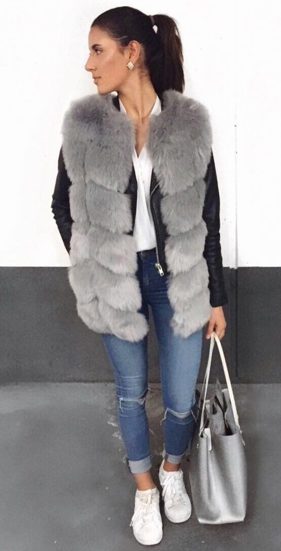 Faux Fur Gilet // Leather Jacket // White Top // Ripped Skinny Jeans // Metallic Bag // White Sneakers                                                                             Source