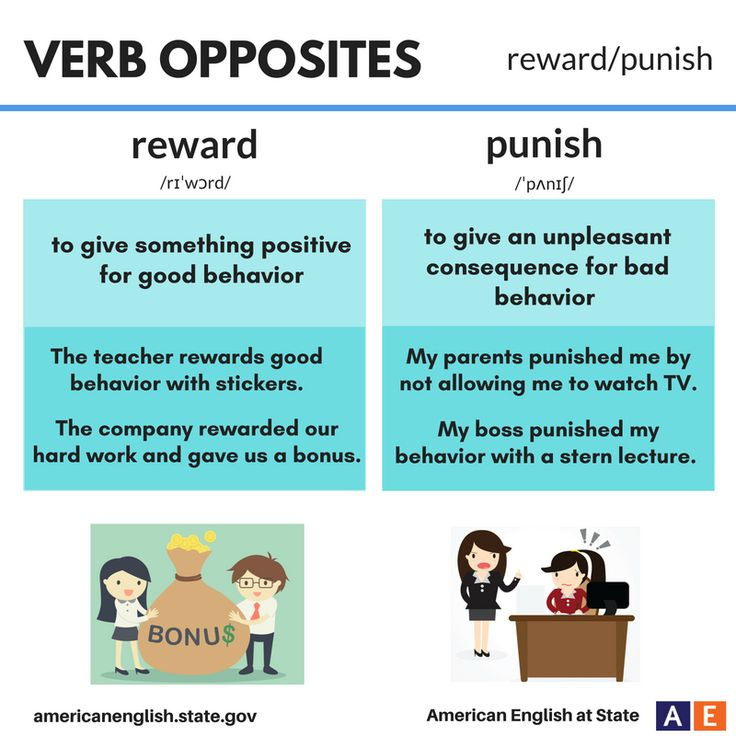 Verb Opposites: reward / punish